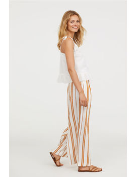 Wide Linen Blend Trousers by H&M