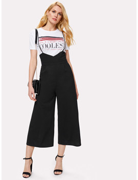 Solid Wide Leg Cami Jumpsuit by Shein