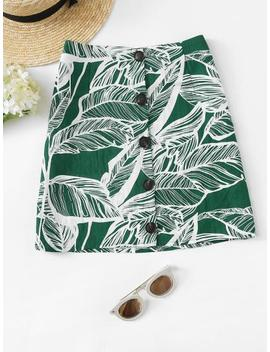 Leaves Print Button Front Skirt by Sheinside
