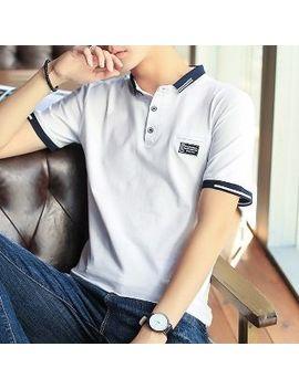 Short Sleeve Contrast Trim Polo Shirt by Romantica