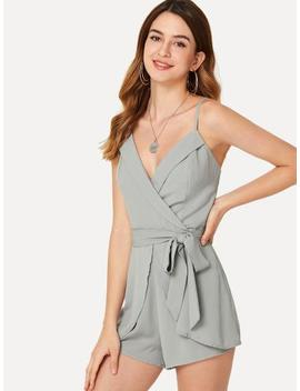 Self Belted Fold Over Wrap Cami Romper by Shein