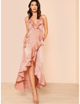 Satin Ruffle Front Maxi Dress Rose by Sheinside