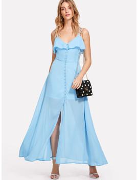 Ruffle Trim Button Up Cami Dress by Shein