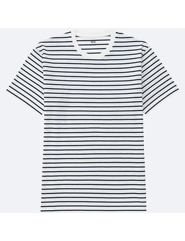 Men 100 Percents Cotton Striped Crew Neck Short Sleeve T Shirt by Uniqlo