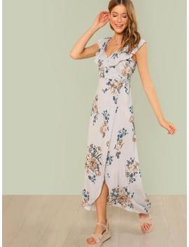 Floral Print Ruffle Maxi Dress by Sheinside