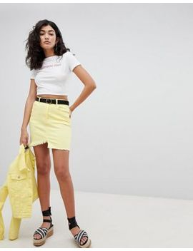 Pretty Little Thing Frayed Edge Denim Mini Skirt by Pretty Little Thing