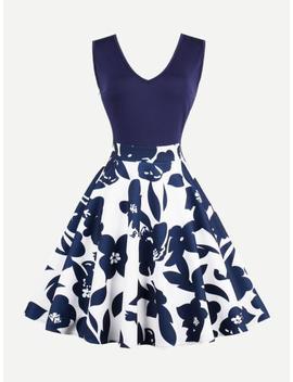 V Neckline Floral Print Zip Up Side Dress by Sheinside