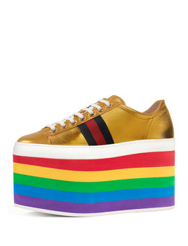 Peggy Leather Platform Sneaker, Rainbow/Gold by Gucci