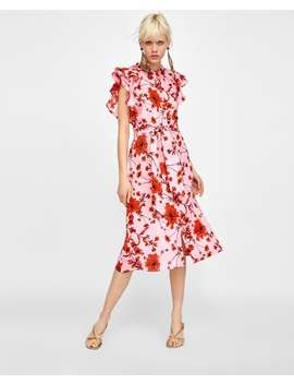 Floral Print Linen Tunic  Dress Timewoman by Zara