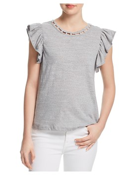 Embellished Flutter Sleeve Tee   100 Percents Exclusive  by Aqua