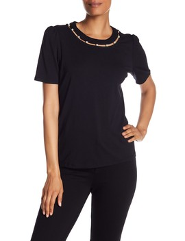 Faux Pearl Cutout Neckline Tee by Catherine Catherine Malandrino
