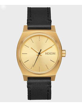 Nixon Medium Time Teller Leather Gold &Amp; Black Watch by Nixon Watches