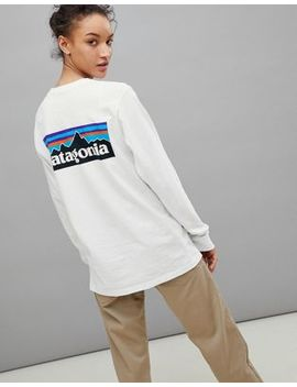 Patagonia P 6 Back Logo Long Sleeve Top In White by Patagonia