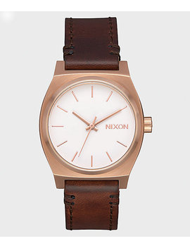 Nixon Medium Time Teller Leather Rose Gold, White & Brown Watch by Nixon Watches