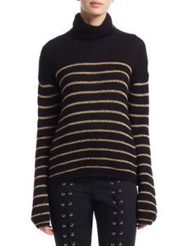 Elisa Metallic Stripe Turtleneck Sweater by A.L.C.