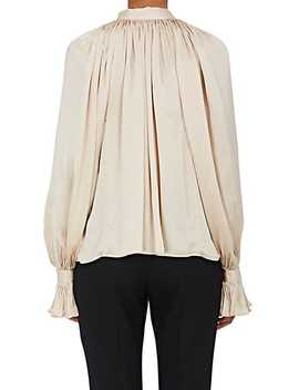 Pleated Silk Satin Blouse by Co