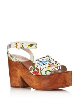 Women's May Leather Platform Block Heel Sandals   100 Percents Exclusive by Tory Burch