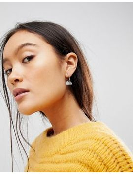 Asos Design Pack Of 3 Bar Plate Charm And Chain Drop Hoop Earrings by Asos Design