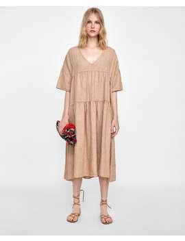Oversize  Kleid Aus Leinenneu Damen by Zara