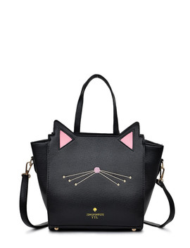 Embroidery Detail Cat Shaped Design Shoulder Bag by Romwe