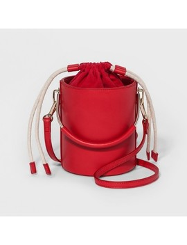 Vertical Metal Handle Bucket Bag   Who What Wear™ Red by Who What Wear