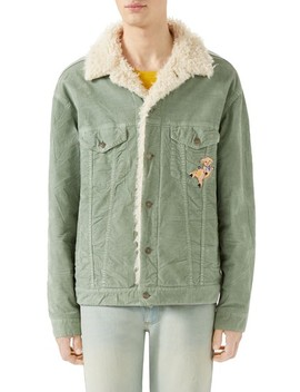 Corduroy Western Jacket With Faux Shearling Lining by Gucci