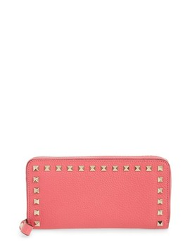 Rockstud Zip Around Leather Continental Wallet by Valentino Garavani