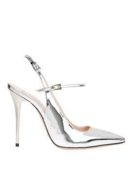 Silver Leather Slingback Sandals by Sebastian
