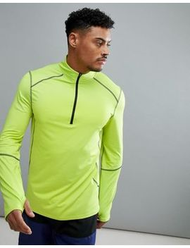New Look Sport Long Sleeve Top With Zip In Fluorescent Green by New Look
