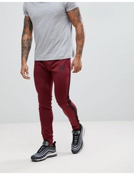 Gym King Logo Skinny Poly Joggers In Burgundy With Side Stripes by Gym King