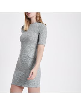 Grey Mix Rib Short Sleeve Bodycon Dress                                  Grey Mix Rib Short Sleeve Bodycon Dress by River Island