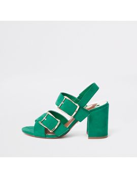 Green Double Buckle Heel Sandals                                  Green Double Buckle Heel Sandals by River Island