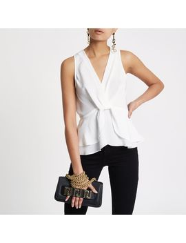 White Twist Front Frill Hem Top                                  White Twist Front Frill Hem Top by River Island