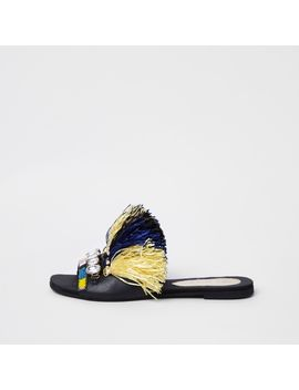 Dark Blue Fringe Embellished Sandals                                  Dark Blue Fringe Embellished Sandals by River Island