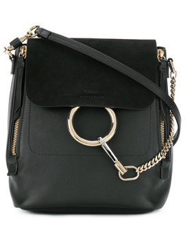Black Faye Small Leather Backpackhome Women Bags Backpacks by Chloé