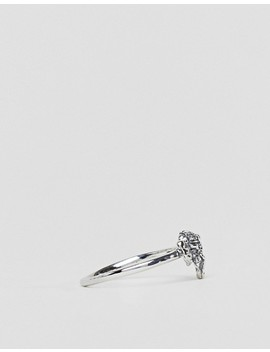 Asos Design Curve Ring With Elephant Detail In Sterling Silver by Asos Design