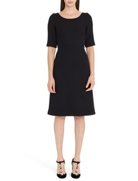 Button Detail Wool Crepe Dress by Dolce&Gabbana