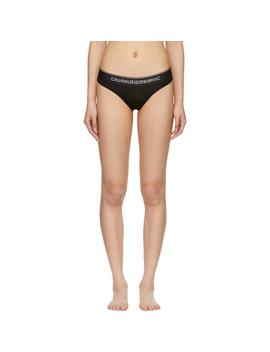 Black Cotton Logo Collection Thong by Calvin Klein 205 W39 Nyc