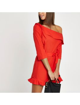 Orange Frill Hem One Shoulder Romper  Orange Frill Hem One Shoulder Romper by River Island