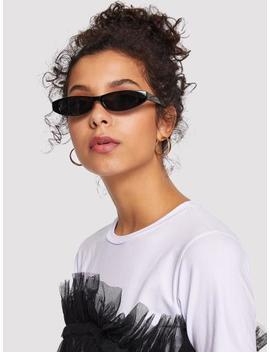 Plain Frame Mirror Lens Sunglasses by Sheinside