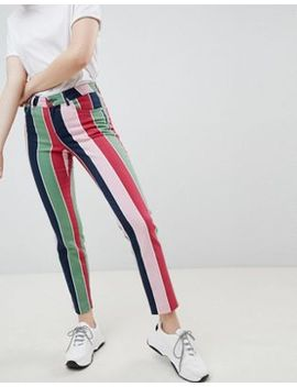 Asos Design Pencil Straight Leg Jeans With Coloured Stripe Print by Asos Design