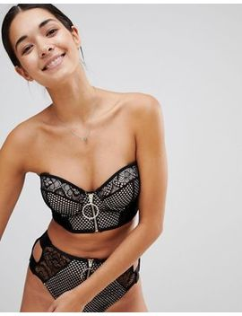 River Island Mesh Bandeau Pull Ring Bikini Top by River Island