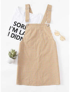 Detachable Strap Gingham Pinafore Dress by Shein