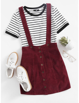 Button Up Cord Pinafore Skirt by Shein