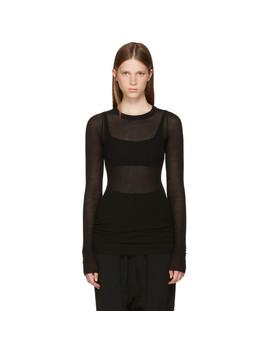Black Long Sleeve Rib T Shirt by Rick Owens