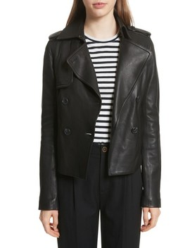 Crop Leather Trench Coat by Vince