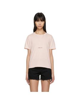 Pink Destroyed Vintage Rive Gauche Volume T Shirt by Saint Laurent