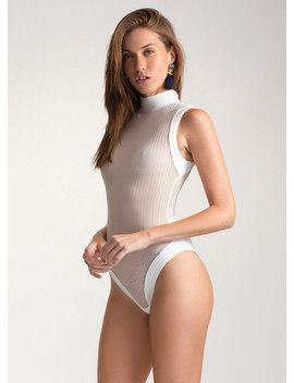 Hit Or Mesh Herringbone Bodysuit by Go Jane