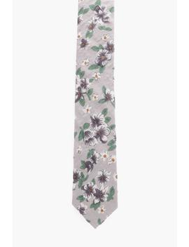 Floral Printed Skinny Tie by Boohoo