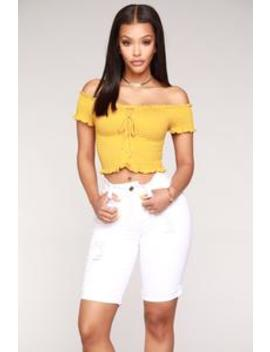 Chillin' With Friends Off Shoulder Top   Mustard by Fashion Nova